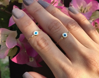 Evil Eye ring Gold Chain ring Evil Eye Jewelry Gold Ring Gold midi Ring Delicate ring dainty ring Delicate Chain Ring Tiny Ring Silver ring