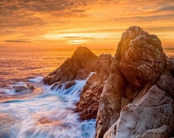 Turbulent Seas - big sur,california,rough seas,garrapata,western landscape,blue ocean,orange sunset,ocean waves,spectacular sunset,rocky