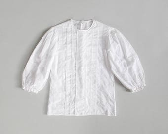 vintage white cotton blouse / collarless button back shirt  / pintuck top with three quarter balloon sleeves / womens S