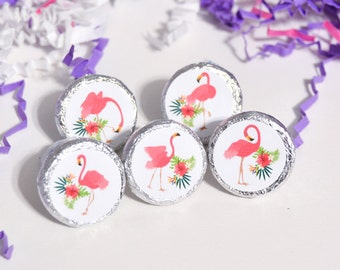 324 Flamingo Party Favor Labels, Flamingo Birthday Supplies, Flamingo Stickers for Hershey Kisses, Flamingo Party Decoration