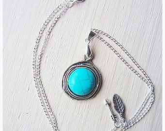 Turquoise Necklace, Gemstone, Charms, Arrow, Feather, Pretty, Blue, Unque, Tribal, Woodsy, Gift, Mother, Daughter, Friendship, Girlfriend