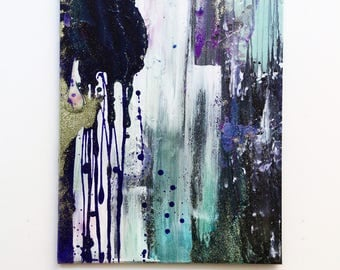 Firework. Original Abstract Acrylic Painting. Green, Purple, Pink, White and Grey painting. Modern Art, Medium Canvas