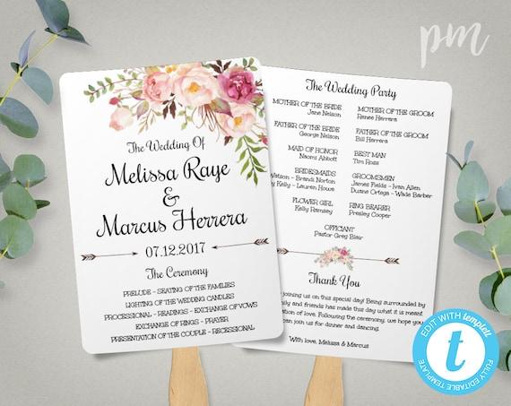 wedding program fan template bohemian floral instant