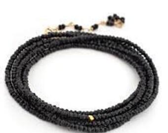 Black Spinel Bead Wrap Bracelet