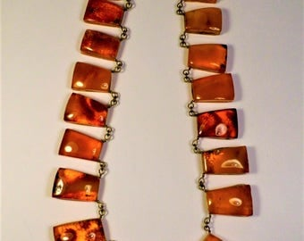 Old honey transparent natural genuine real Baltic Amber collar necklace vintage antique retro authentic women's jewelry FREE SHIPPING 1139