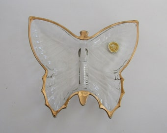 Jeannette Glass Crystal Butterfly Candy Nut Dish