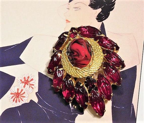 Mid Century Brooch Red Rhinestone Brooch Molded Slag Glass Art Glass Brooch 1960s 60s Fashion Jewelry Hollywood Fruit Salad Brooch