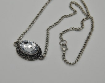 gunmetal rhinestone filigree pendant. large rhinestone necklace. art deco rocker necklace. filigree rhinestone connector. lobster clasp.