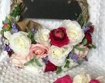 Floral Wreath with chalk board