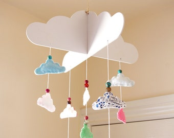 Cloud Crib Mobile, Felt Baby Cot Mobile, Cloud Nursery Decor, Hanging Bead Mobile, Baby Boy Girl Bedroom, Felt Home Decor, Baby Shower Gift