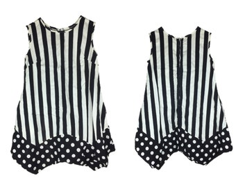 Vintage Mod Dress | 60s Stripe Dress | 1960s Mod Dress | Polka Dot Dress | Babydoll Dress | Black & White Dress | Sleeveless Mini Dress S M