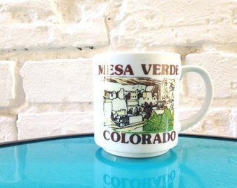 MESA VERDE Colorado Mug / 1980s Coffee Mug / Souvenir Mug / Medium Sized / Brown and Green / Collector's Mug / National Park