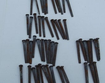 Antique vintage industrial 50 x rose head iron hand cut nails , old shop stock , building renovation ,art Sculpture