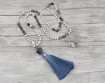 Gemstone necklace BOHO tassel necklace Long bead necklace tassel bead necklace India agate bead necklace Silk tassel necklace Jewelry NL-021