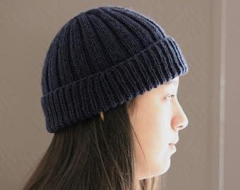 Knit Hat, Merino Wool, Dark Blue Hat, Slouchy Hat, Knit Beanie, Slouchy Beanie