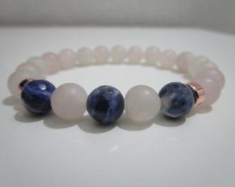 Rose quartz Bracelet  and Sodalite, bracelet of stones semi-precious, plated in gold pink, gift for women, bracelet for women