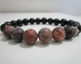 Bracelet Onyx and Leopard skin jasper,mens bracelet, bracelet semi-precious stones, gift for man, bracelet  Tibetan style