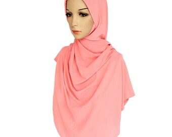 Peach Crepe Slip On Instant Twist Hijab