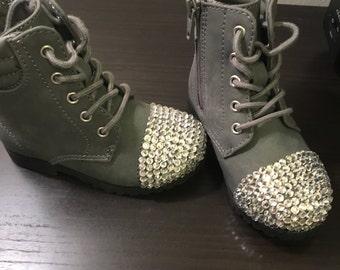 Gray Swarvoski Crystal Combat Boots