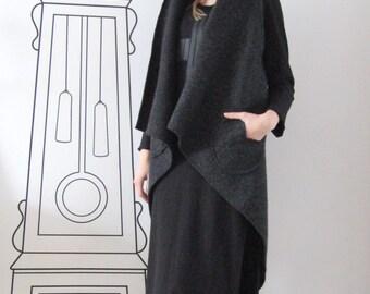 Extravagant Wool Vest / Irregular Wool Vest / Outerwear by FabraModaStudio / V801