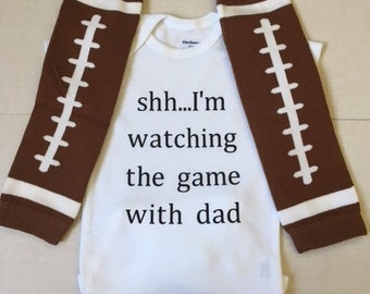 Shh..I'm watching the game with dad baby bodysuit...football, baby clothes, girl boy clothes, baby shower gift,  trendy baby outfit