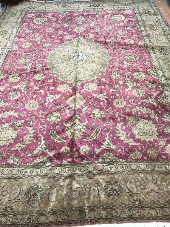 "9'9"" x 13'2"" Antique Persian Tabriz Oriental Rug - 1940s - Hand Made - 100% Wool"