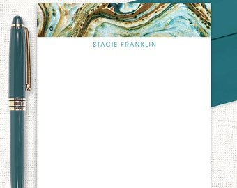 personalized notePAD - vintage marble paper STACIE TEAL - stationery - stationary - custom notepad - abstract art - colorful notepad