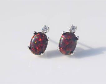 Fire Opal Earrings, Red Fire Opal Earrings, Cherry Red Fire Opal Earrings, Silver Opal Earrings, Birthstone Earrings, Fire Opal