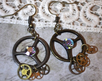 Steampunk Earrings | Gear Earrings | Steampunk Gears and Sparkle Earrings | Upcycled Gear Earrings | Watch Gear Earrings