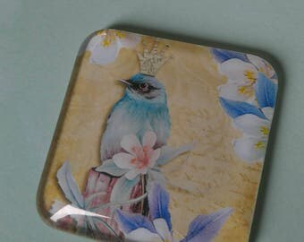 Crowned Bird magnet, whimsical, floral, happy birthday, just because, thinking of you, office decor, home decor