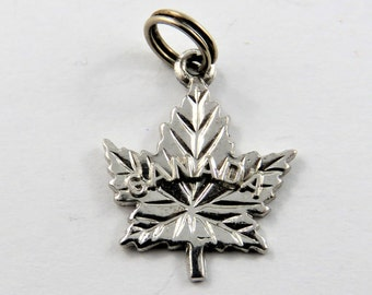 Canadian Maple Leaf Sterling Silver Charm of Pendant.