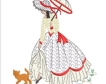 SOUTHERN BELLE in the rain machine embroidery download 5 diff sizes( 3.4 X3.4  4X4 5x5  6x6  7x7 )