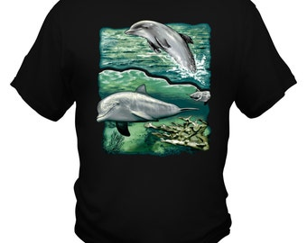 Dolphins swimming custom Printed Tshirt