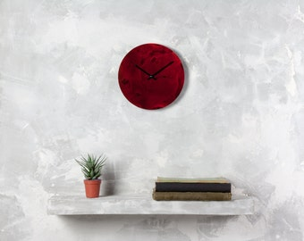 Red wall clock, Unique wall clock, hand painted clock, marble art, wall decor, marble clock, wall art, gift for her,  office clock, red art
