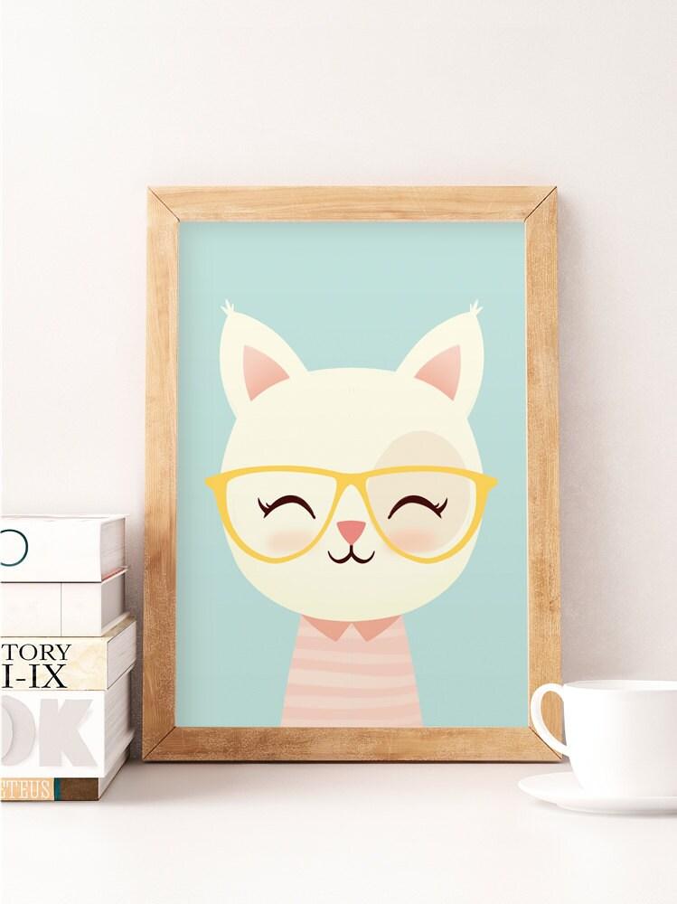 Cute Cat Print Cat Wall Art Animals Print Safari Wall