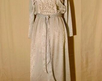 70's JESSICA McCLINTOCK Pale Blue Long Sleeve Lace Bib Sailor Collar Elasticized Waist Maxi Dress Small