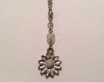 Vintage 14K White Gold Plated Sunflower Flower Floral Y Shape Drop Necklace