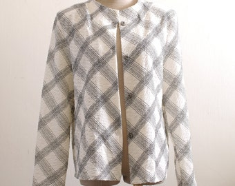 Vintage cream white crop jacket in check print