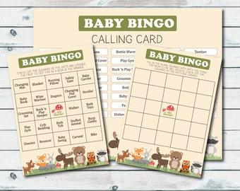 Woodland Baby Shower Bingo Cards, Printable Bingo Cards, Baby Shower Bingo, Woodland Baby Shower, Baby Bingo Prefilled and Blank Cards