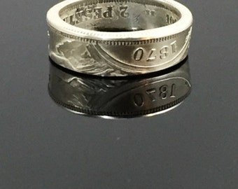 1870 Spain 2 Pesetas Silver Coin Ring - Add a Patina - Have Polished - or Go With Unpolished As Shown