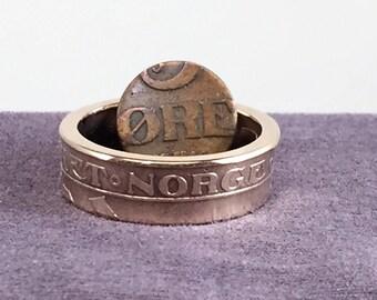 1911 Haakon VII Norwegian Bronze 5 Ore Coin Ring