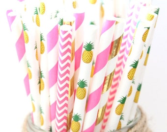 Pink Pineapple party straws mix- pineapple party straws, hawaiian themed party, luau party, summer wedding straws, summer party straws