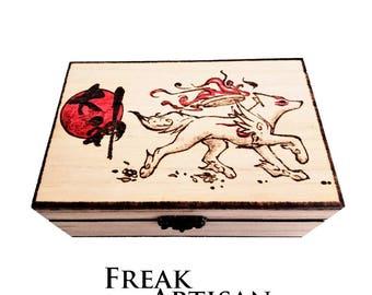 Okami, Wooden box Pyrography, Video games, gift, present, Birthday, Bday