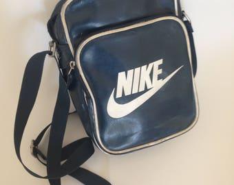 Vintage Nike shoulder bag , Crossbody Purse, vinyl crossbody bag, vintage bag, small blue crossbody bag, vinyl shoulder bag.