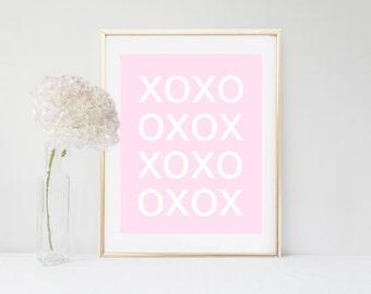 Pink XO Print, Printable Art, Typography Art, Hugs and Kisses, xo, Pink Wall Art, Digital Download, Wall Decor