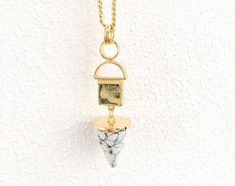 Long golden necklace with pointy marble stone, marble necklace, long golden necklace, marble pendant