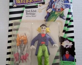 BEETLEJUICE Action Figure SHISH KEBAB Beetlejuice New On Card Michael Keaton Kenner 89 Movie Memorabilia Toy Tim Burton Winona Ryder