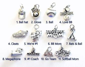 Baseball Charm, Add on to any of my listings 1 single Pendant, Silver Softball Cleat Bat Ball We're #1 Go Team Hat Cap I love Baseball coach