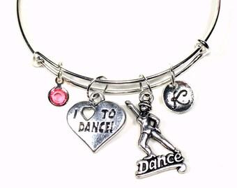 Tap Dance Bangle Bracelet, I Love to Dance Charm Jewelry, Dancer Gift, Silver Adjustable Personalized Custom Initial birthstone Jazz Swing