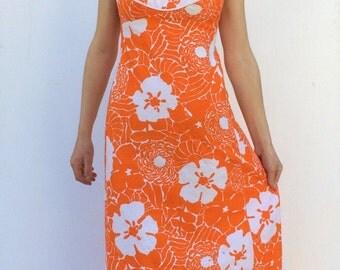 1970s Maxi dress Hippie Floral Orange